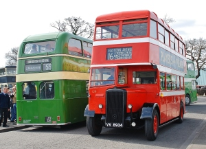 "Not all of the exhibits on display are owned by the LVVS. The bus on the right belongs to a Society member and has been resident at Whisby Road for the last two and a half years. It is a rare example of a World War II ""utility"" bus, new in 1945. As you can see from the radiator, it is a Daimler."