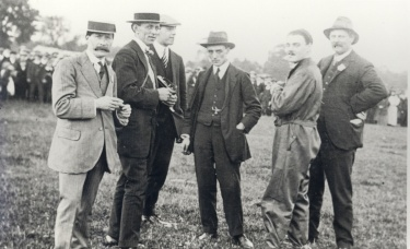 Group of aviation enthusiasts circa 1912,  they are, left to right; Mr Parker, Mr E. Appleby, Mr S. Appleby, Mr Jones, Marcus Manton and Mr W. Woodley.  Image courtesy of North Lincolnshire Museum.